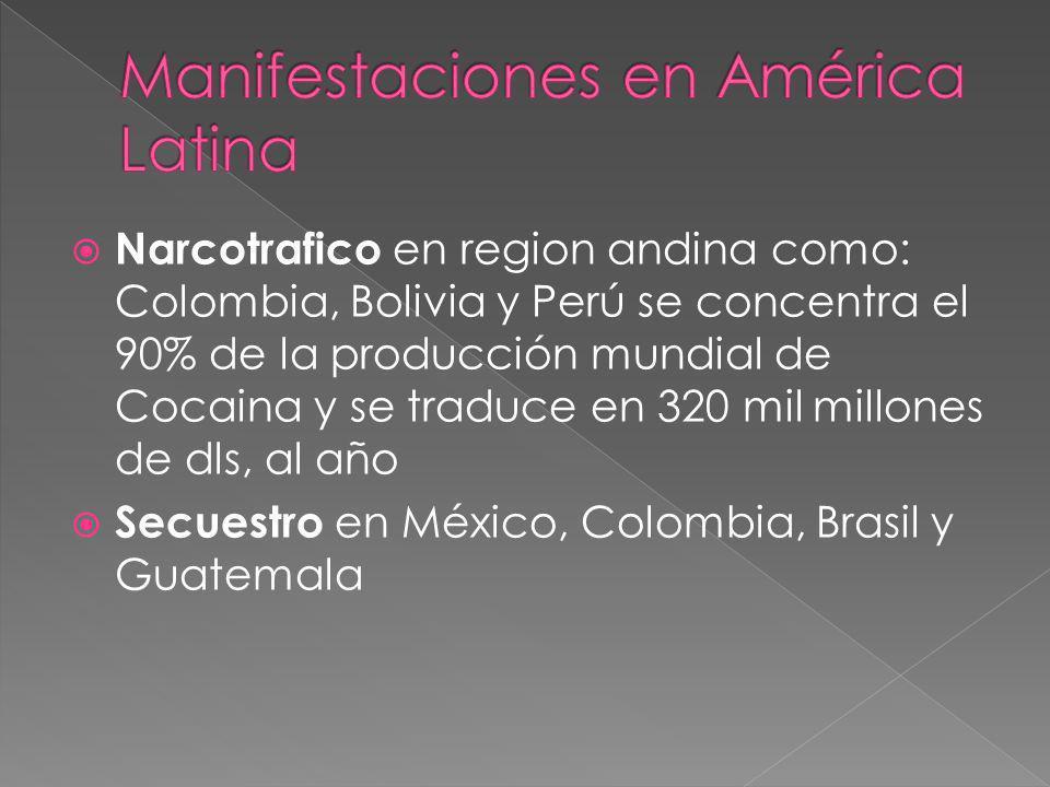Narcotrafico en region andina como: Colombia, Bolivia y Perú se concentra el 90% de la producción mundial de Cocaina y se traduce en 320 mil millones