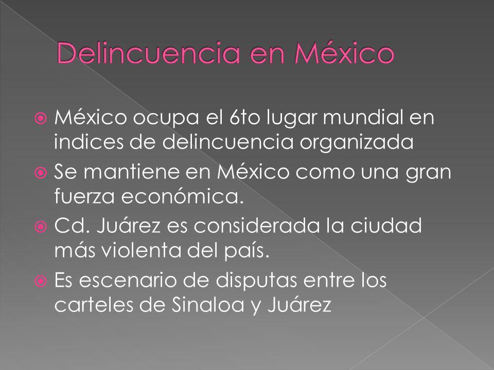 México ocupa el 6to lugar mundial en indices de delincuencia organizada Se mantiene en México como una gran fuerza económica. Cd. Juárez es considerad