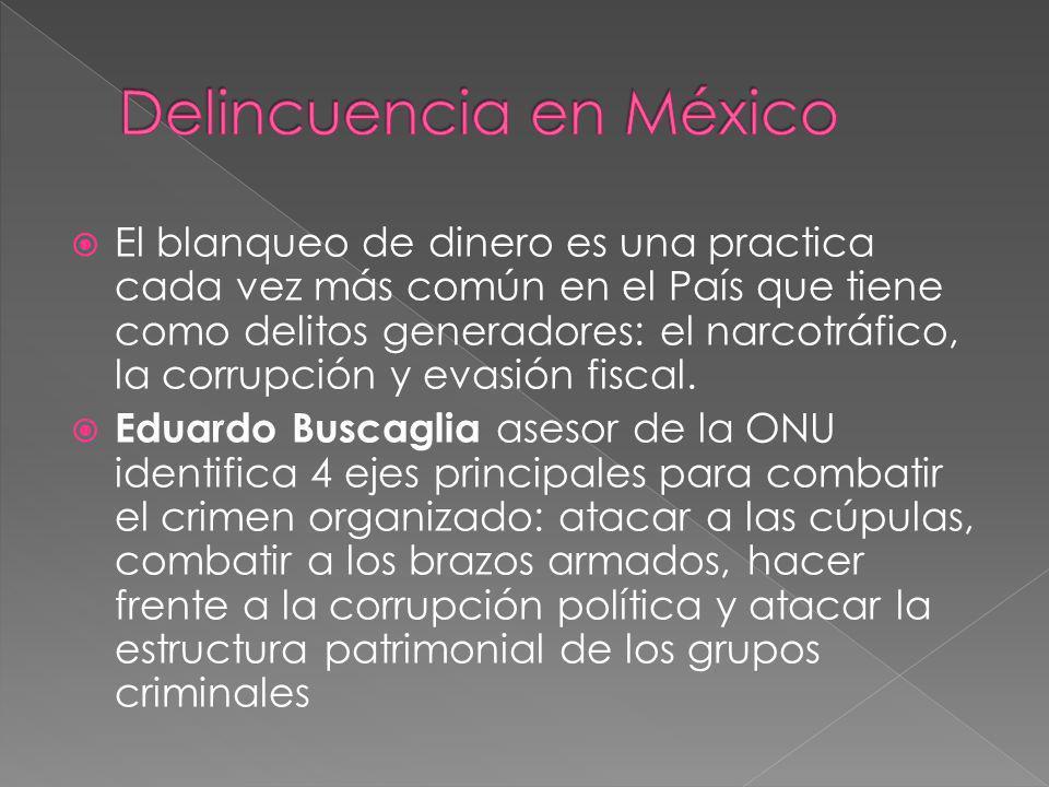 El blanqueo de dinero es una practica cada vez más común en el País que tiene como delitos generadores: el narcotráfico, la corrupción y evasión fisca