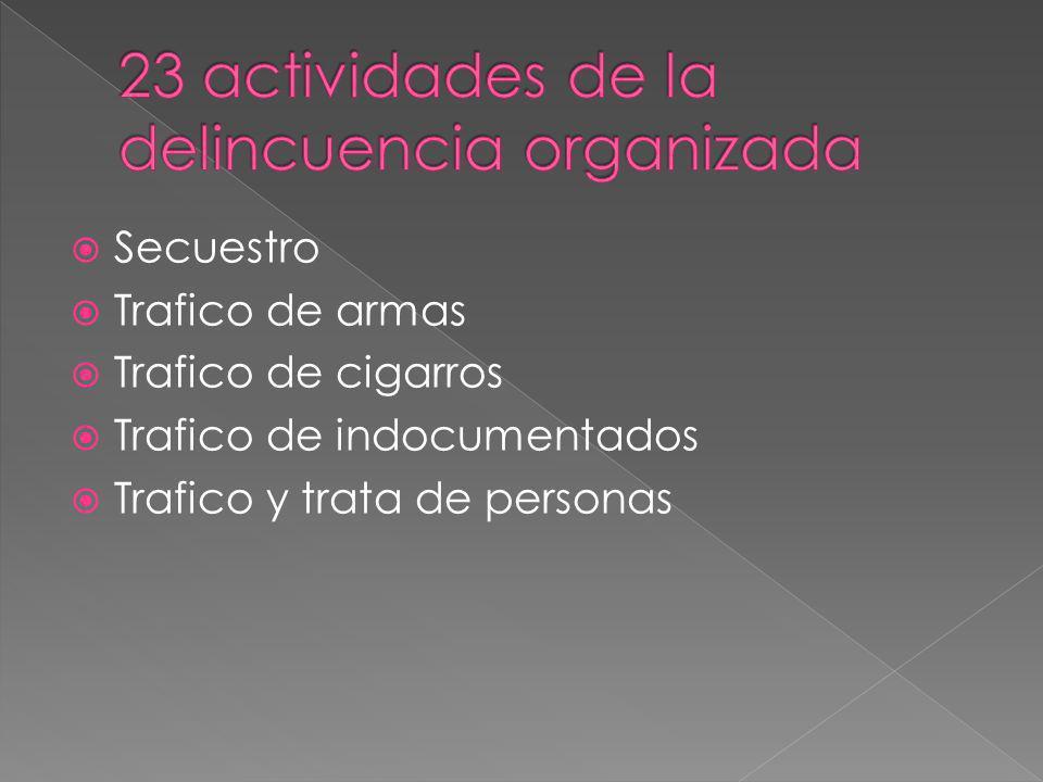 Secuestro Trafico de armas Trafico de cigarros Trafico de indocumentados Trafico y trata de personas