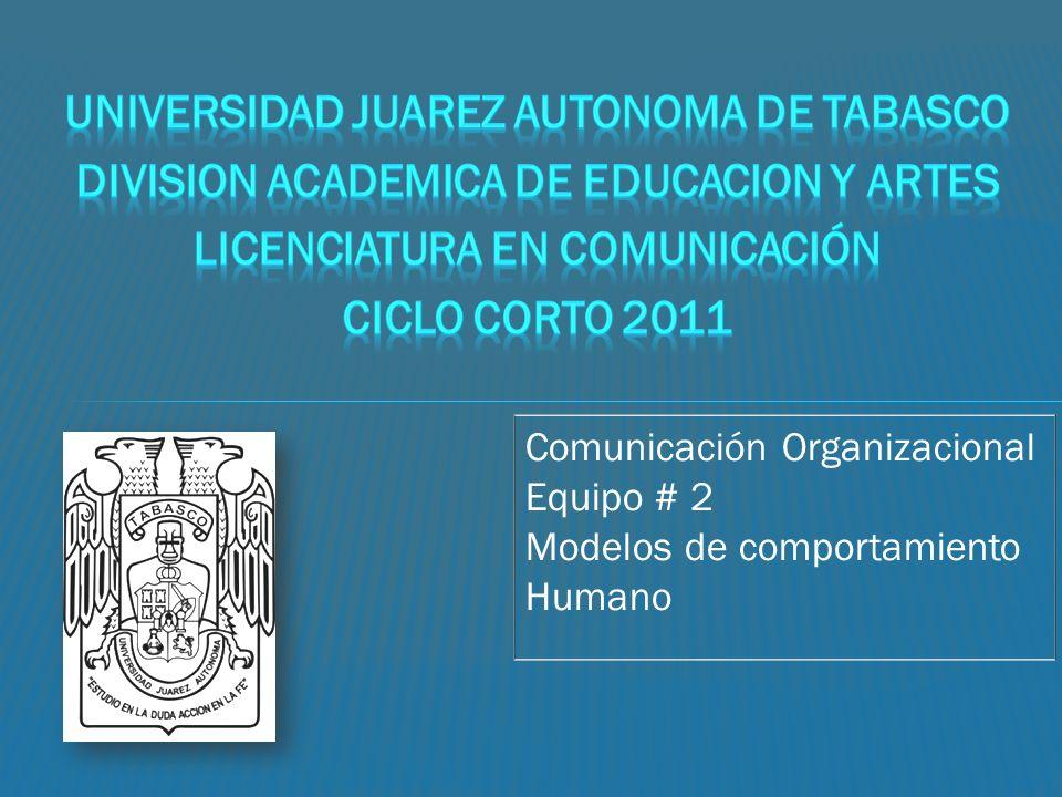 Comunicación Organizacional Equipo # 2 Modelos de comportamiento Humano