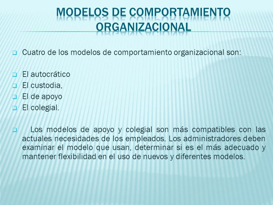 Cuatro de los modelos de comportamiento organizacional son: El autocrático El custodia, El de apoyo El colegial. Los modelos de apoyo y colegial son m