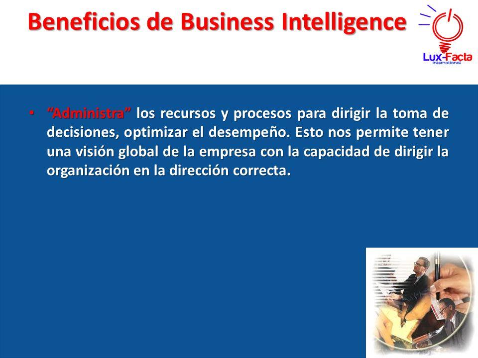 Beneficios de Business Intelligence Administra los recursos y procesos para dirigir la toma de decisiones, optimizar el desempeño. Esto nos permite te