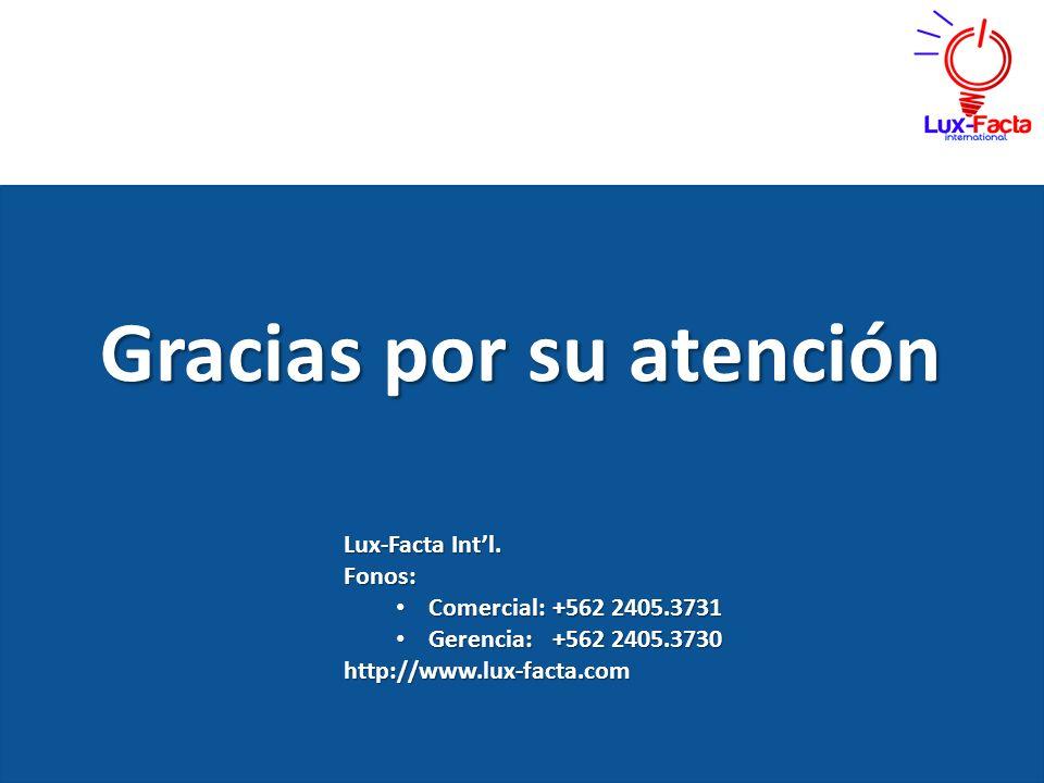 Gracias por su atención Lux-Facta Intl. Fonos: Comercial: +562 2405.3731 Comercial: +562 2405.3731 Gerencia:+562 2405.3730 Gerencia:+562 2405.3730http
