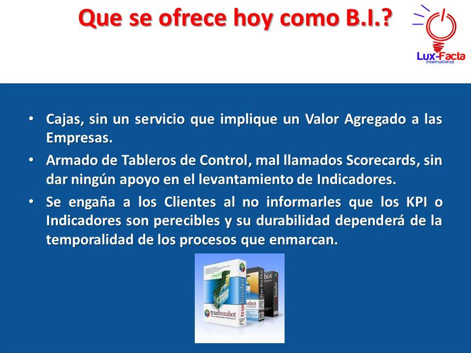 Que se ofrece hoy como B.I.? Cajas, sin un servicio que implique un Valor Agregado a las Empresas. Cajas, sin un servicio que implique un Valor Agrega