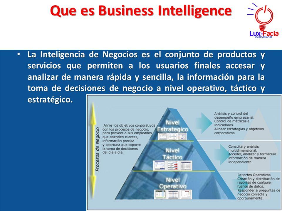 Que es Business Intelligence La Inteligencia de Negocios es el conjunto de productos y servicios que permiten a los usuarios finales accesar y analiza