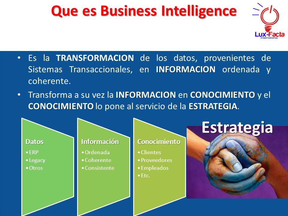 Que es Business Intelligence INFORMACION Es la TRANSFORMACION de los datos, provenientes de Sistemas Transaccionales, en INFORMACION ordenada y cohere