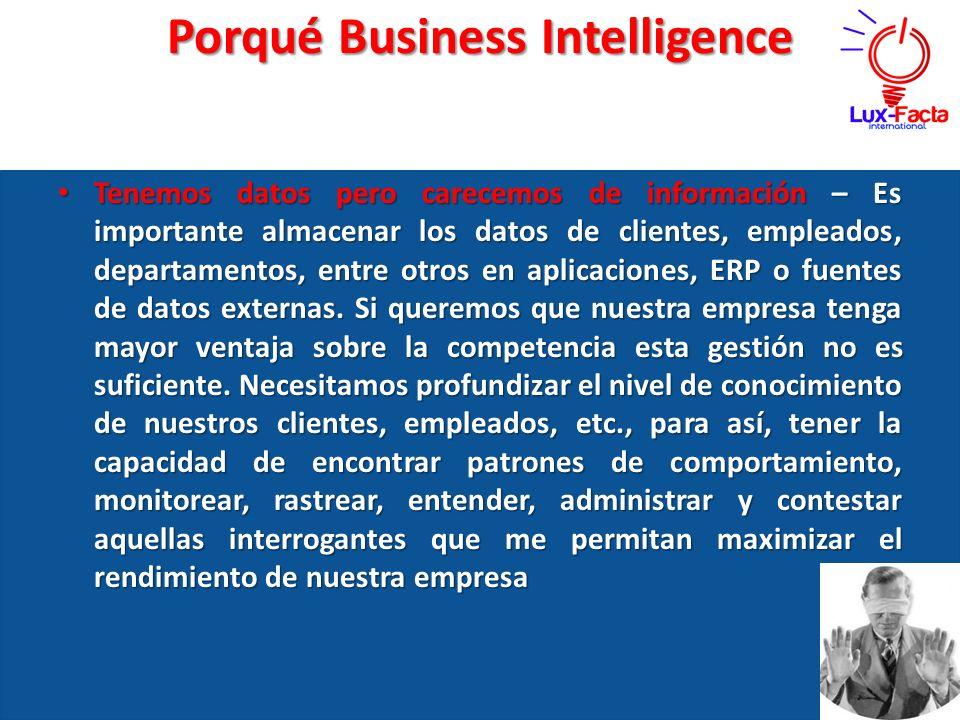 Porqué Business Intelligence Tenemos Tenemos datos pero carecemos de información – Es importante almacenar los datos de clientes, empleados, departame