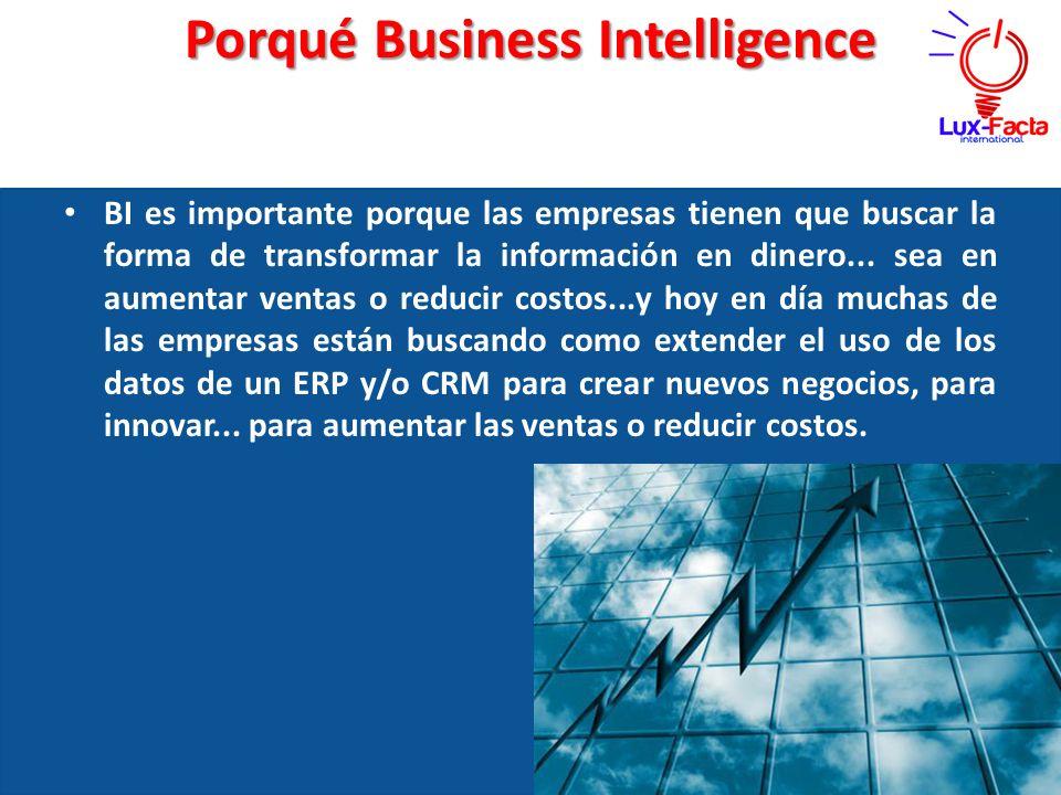 Porqué Business Intelligence BI es importante porque las empresas tienen que buscar la forma de transformar la información en dinero... sea en aumenta