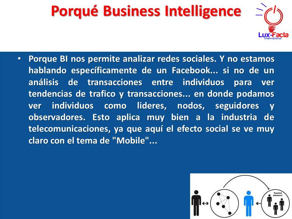 Porqué Business Intelligence Porque Porque BI nos permite analizar redes sociales. Y no estamos hablando específicamente de un Facebook... si no de un