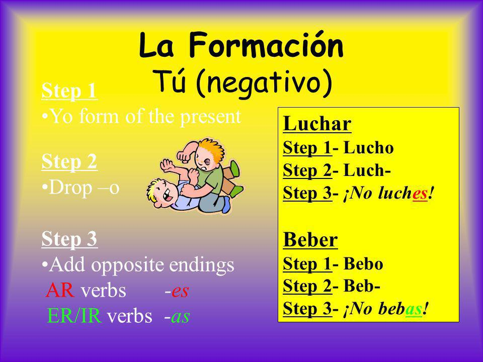 La Formación Tú (negativo) Step 1 Yo form of the present Step 2 Drop –o Step 3 Add opposite endings AR verbs -es ER/IR verbs -as Luchar Step 1- Lucho Step 2- Luch- Step 3- ¡No luches.