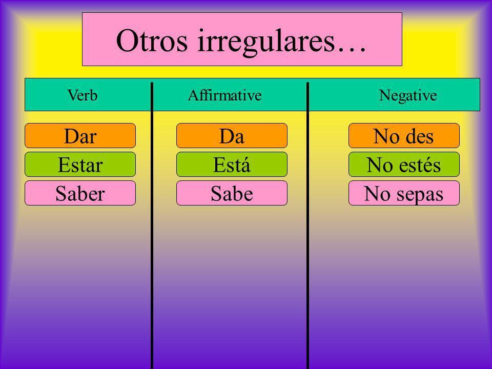 Otros irregulares… Verb Affirmative Negative DarNo desDa EstarNo estésEstá SaberNo sepasSabe