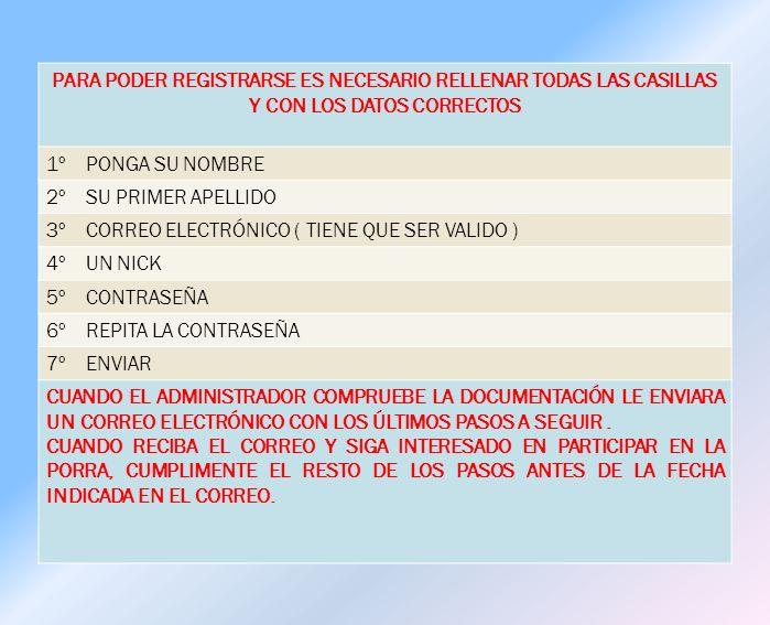 PARA PODER REGISTRARSE ES NECESARIO RELLENAR TODAS LAS CASILLAS Y CON LOS DATOS CORRECTOS 1º PONGA SU NOMBRE 2º SU PRIMER APELLIDO 3º CORREO ELECTRÓNICO ( TIENE QUE SER VALIDO ) 4º UN NICK 5º CONTRASEÑA 6º REPITA LA CONTRASEÑA 7º ENVIAR CUANDO EL ADMINISTRADOR COMPRUEBE LA DOCUMENTACIÓN LE ENVIARA UN CORREO ELECTRÓNICO CON LOS ÚLTIMOS PASOS A SEGUIR.