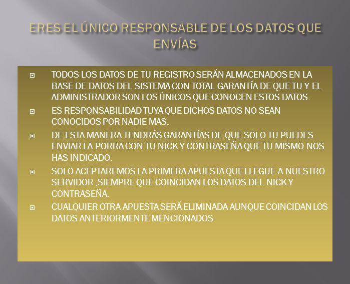 TODOS LOS DATOS DE TU REGISTRO SERÁN ALMACENADOS EN LA BASE DE DATOS DEL SISTEMA CON TOTAL GARANTÍA DE QUE TU Y EL ADMINISTRADOR SON LOS ÚNICOS QUE CONOCEN ESTOS DATOS.