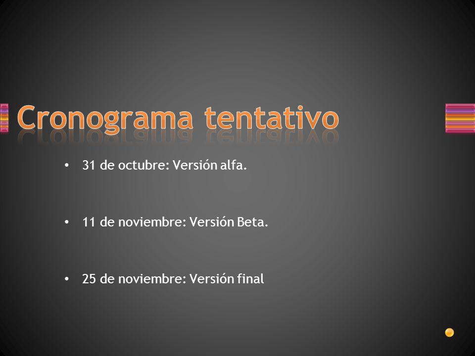 31 de octubre: Versión alfa. 11 de noviembre: Versión Beta. 25 de noviembre: Versión final