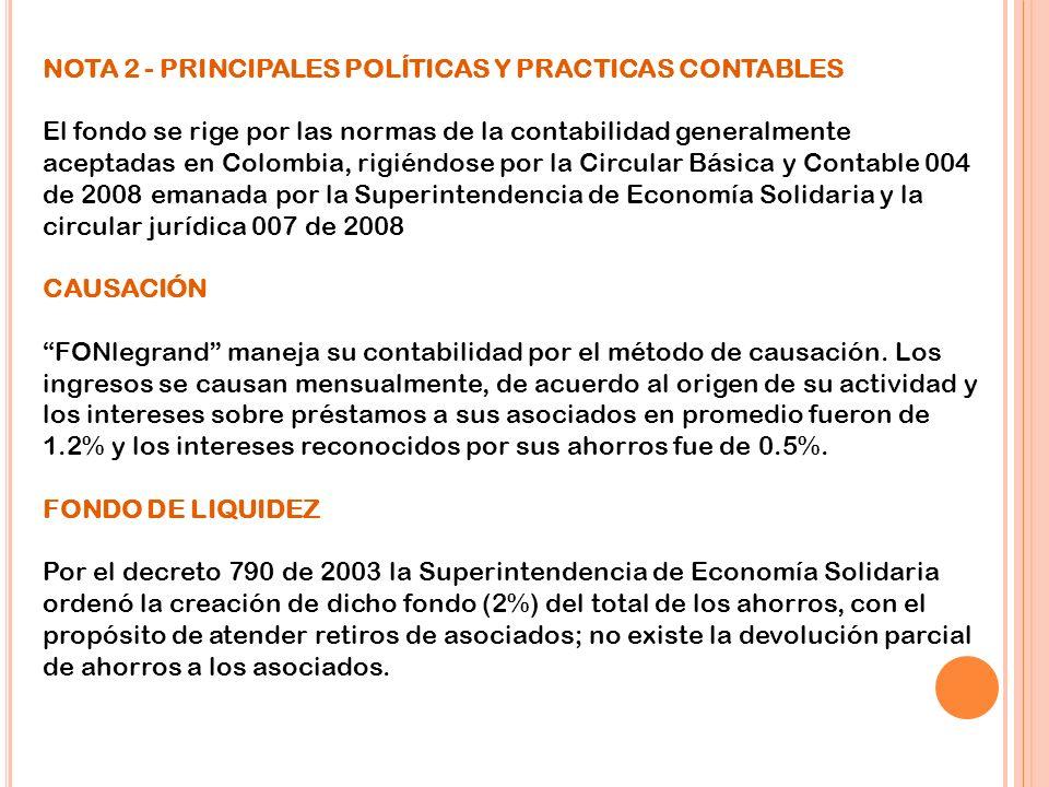 NOTA 2 - PRINCIPALES POLÍTICAS Y PRACTICAS CONTABLES El fondo se rige por las normas de la contabilidad generalmente aceptadas en Colombia, rigiéndose