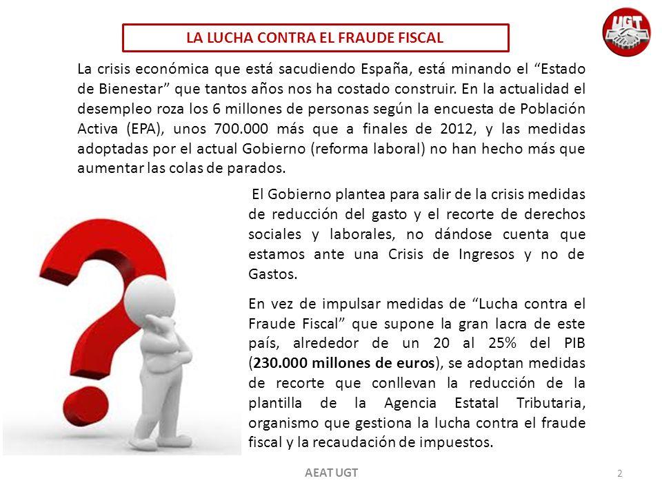 AEAT UGT En España el número de empleados públicos dedicados a la lucha contra el fraude y administración fiscal a finales del 2012 es de 26.962 y en la actualidad no se cubren las plazas que quedan vacantes debido a las distintas jubilaciones de los empleados públicos de la AEAT.