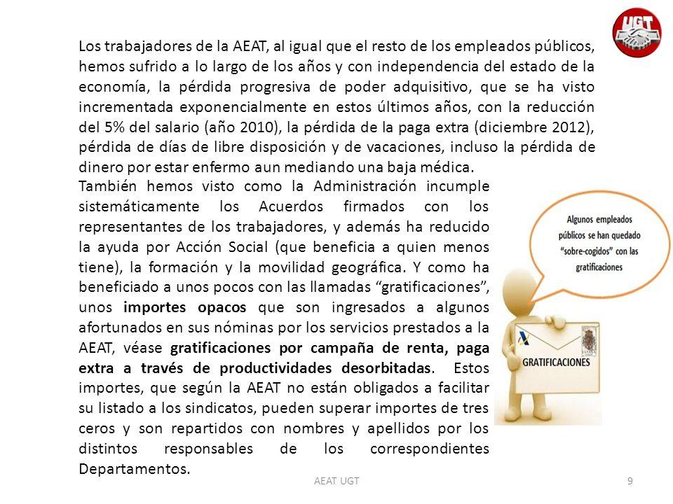 AEAT UGT Los trabajadores de la AEAT, al igual que el resto de los empleados públicos, hemos sufrido a lo largo de los años y con independencia del es