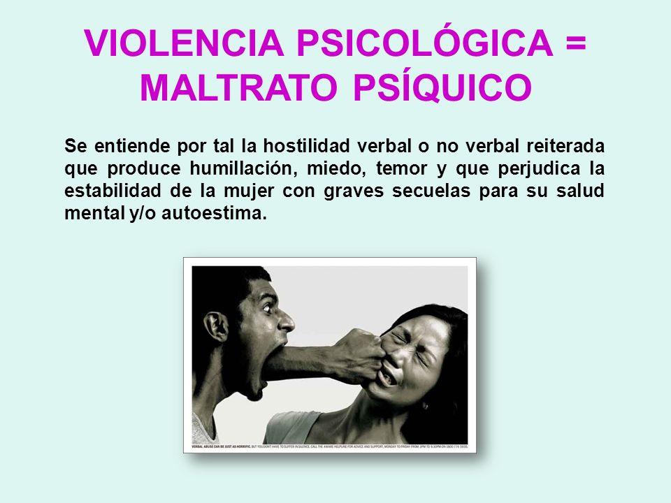 VIOLENCIA PSICOLÓGICA = MALTRATO PSÍQUICO Se entiende por tal la hostilidad verbal o no verbal reiterada que produce humillación, miedo, temor y que p