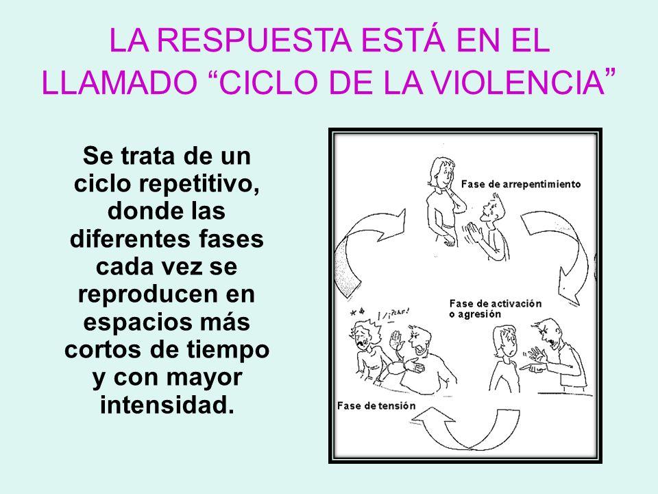 LA RESPUESTA ESTÁ EN EL LLAMADO CICLO DE LA VIOLENCIA Se trata de un ciclo repetitivo, donde las diferentes fases cada vez se reproducen en espacios m
