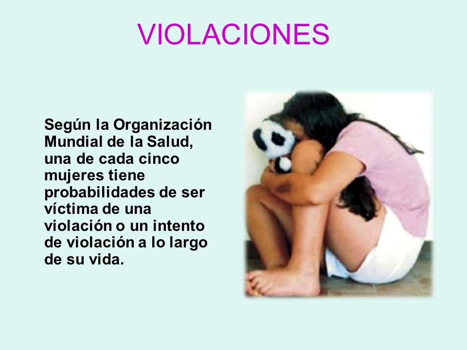 VIOLACIONES Según la Organización Mundial de la Salud, una de cada cinco mujeres tiene probabilidades de ser víctima de una violación o un intento de