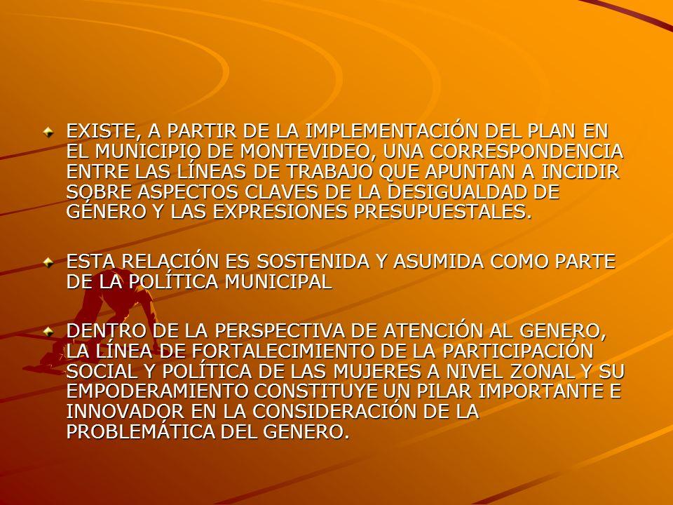 EXISTE, A PARTIR DE LA IMPLEMENTACIÓN DEL PLAN EN EL MUNICIPIO DE MONTEVIDEO, UNA CORRESPONDENCIA ENTRE LAS LÍNEAS DE TRABAJO QUE APUNTAN A INCIDIR SOBRE ASPECTOS CLAVES DE LA DESIGUALDAD DE GÉNERO Y LAS EXPRESIONES PRESUPUESTALES.