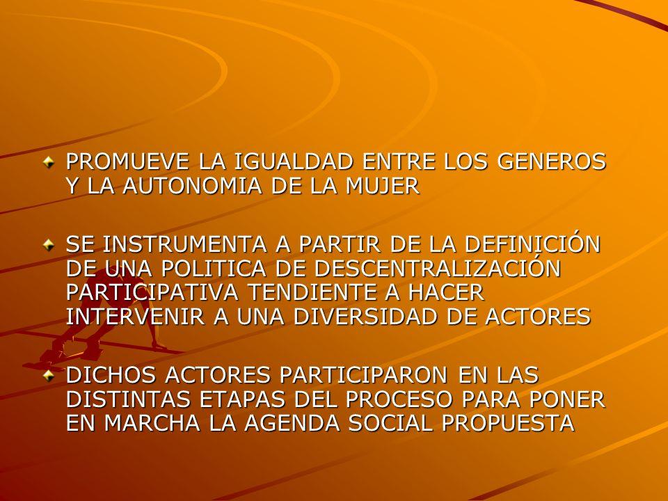 PROMUEVE LA IGUALDAD ENTRE LOS GENEROS Y LA AUTONOMIA DE LA MUJER SE INSTRUMENTA A PARTIR DE LA DEFINICIÓN DE UNA POLITICA DE DESCENTRALIZACIÓN PARTICIPATIVA TENDIENTE A HACER INTERVENIR A UNA DIVERSIDAD DE ACTORES DICHOS ACTORES PARTICIPARON EN LAS DISTINTAS ETAPAS DEL PROCESO PARA PONER EN MARCHA LA AGENDA SOCIAL PROPUESTA