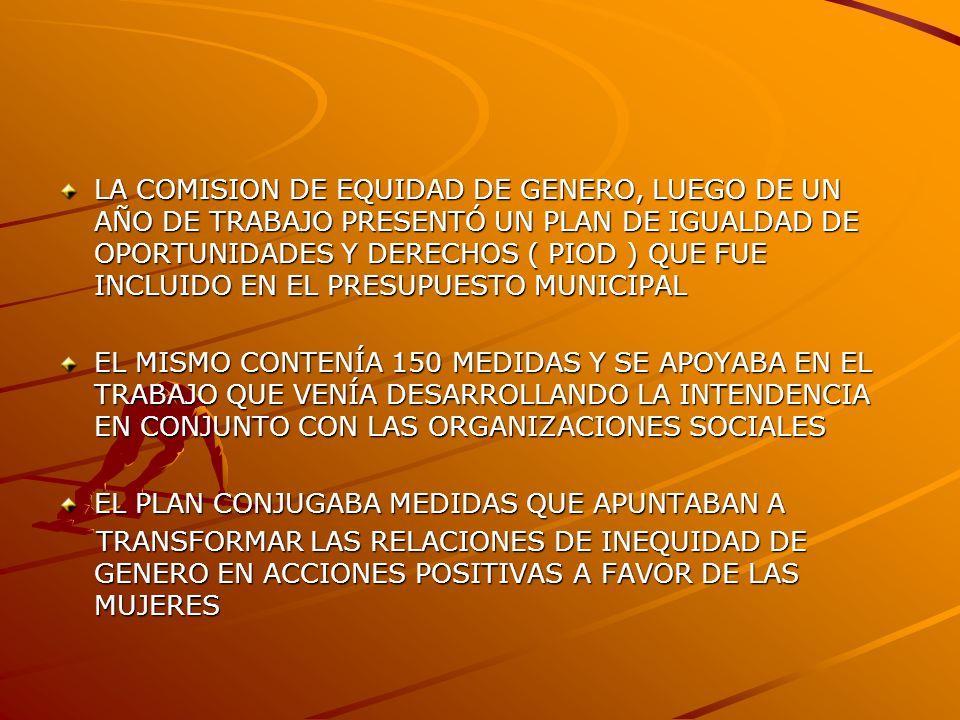 LA COMISION DE EQUIDAD DE GENERO, LUEGO DE UN AÑO DE TRABAJO PRESENTÓ UN PLAN DE IGUALDAD DE OPORTUNIDADES Y DERECHOS ( PIOD ) QUE FUE INCLUIDO EN EL PRESUPUESTO MUNICIPAL EL MISMO CONTENÍA 150 MEDIDAS Y SE APOYABA EN EL TRABAJO QUE VENÍA DESARROLLANDO LA INTENDENCIA EN CONJUNTO CON LAS ORGANIZACIONES SOCIALES EL PLAN CONJUGABA MEDIDAS QUE APUNTABAN A TRANSFORMAR LAS RELACIONES DE INEQUIDAD DE GENERO EN ACCIONES POSITIVAS A FAVOR DE LAS MUJERES TRANSFORMAR LAS RELACIONES DE INEQUIDAD DE GENERO EN ACCIONES POSITIVAS A FAVOR DE LAS MUJERES