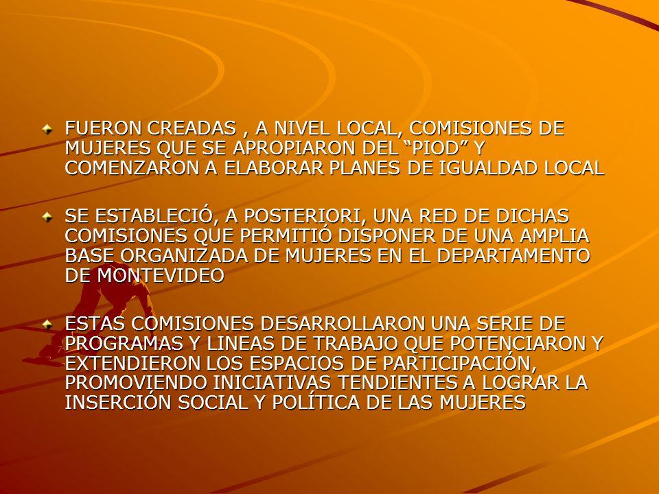 FUERON CREADAS, A NIVEL LOCAL, COMISIONES DE MUJERES QUE SE APROPIARON DEL PIOD Y COMENZARON A ELABORAR PLANES DE IGUALDAD LOCAL SE ESTABLECIÓ, A POSTERIORI, UNA RED DE DICHAS COMISIONES QUE PERMITIÓ DISPONER DE UNA AMPLIA BASE ORGANIZADA DE MUJERES EN EL DEPARTAMENTO DE MONTEVIDEO ESTAS COMISIONES DESARROLLARON UNA SERIE DE PROGRAMAS Y LINEAS DE TRABAJO QUE POTENCIARON Y EXTENDIERON LOS ESPACIOS DE PARTICIPACIÓN, PROMOVIENDO INICIATIVAS TENDIENTES A LOGRAR LA INSERCIÓN SOCIAL Y POLÍTICA DE LAS MUJERES