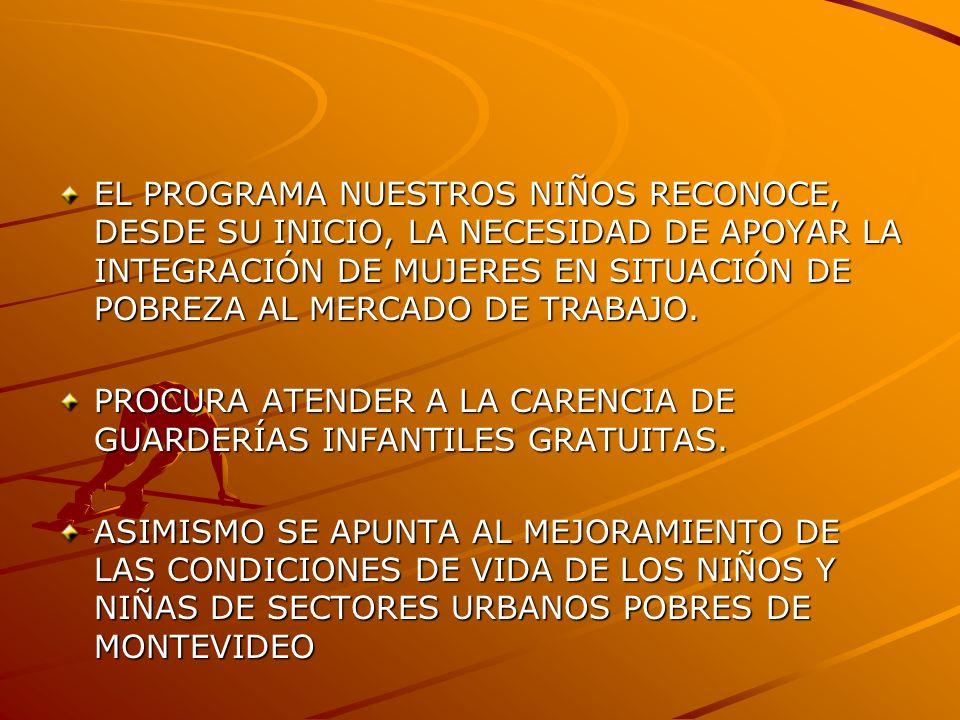 EL PROGRAMA NUESTROS NIÑOS RECONOCE, DESDE SU INICIO, LA NECESIDAD DE APOYAR LA INTEGRACIÓN DE MUJERES EN SITUACIÓN DE POBREZA AL MERCADO DE TRABAJO.