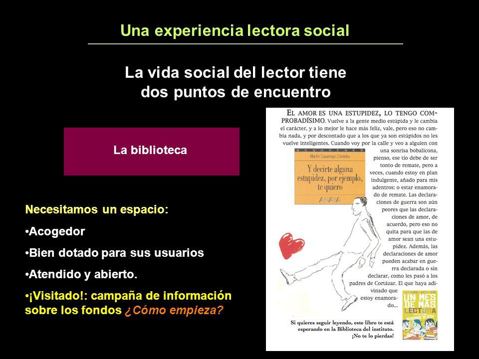 Una experiencia lectora social5 La vida social del lector tiene dos puntos de encuentro La biblioteca Necesitamos un espacio: Acogedor Bien dotado para sus usuarios Atendido y abierto.