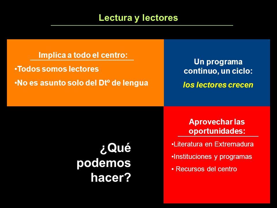 Lectura y lectores ¿Qué podemos hacer? Implica a todo el centro: Todos somos lectores No es asunto solo del Dtº de lengua Aprovechar las oportunidades