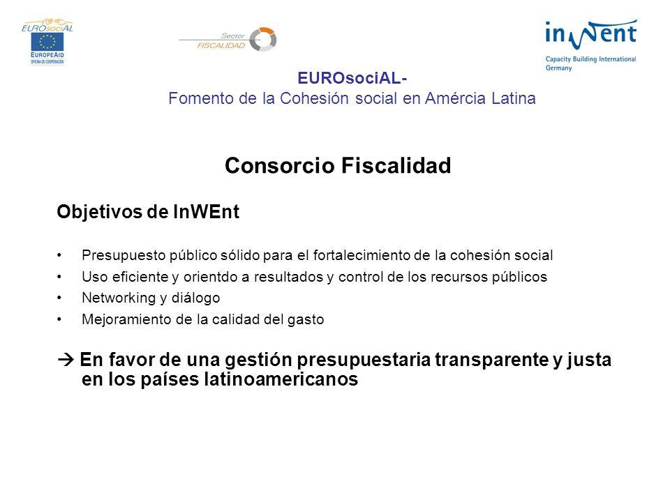 Consorcio Fiscalidad Objetivos de InWEnt Presupuesto público sólido para el fortalecimiento de la cohesión social Uso eficiente y orientdo a resultados y control de los recursos públicos Networking y diálogo Mejoramiento de la calidad del gasto En favor de una gestión presupuestaria transparente y justa en los países latinoamericanos EUROsociAL- Fomento de la Cohesión social en Amércia Latina