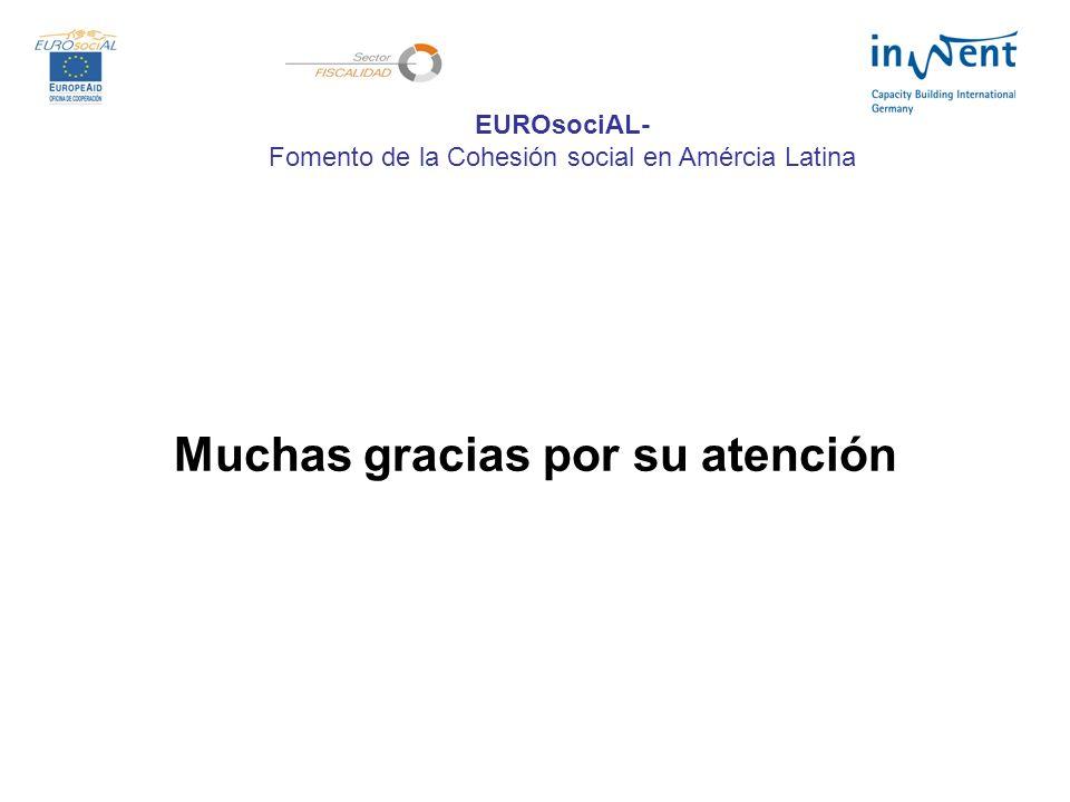 Muchas gracias por su atención EUROsociAL- Fomento de la Cohesión social en Amércia Latina