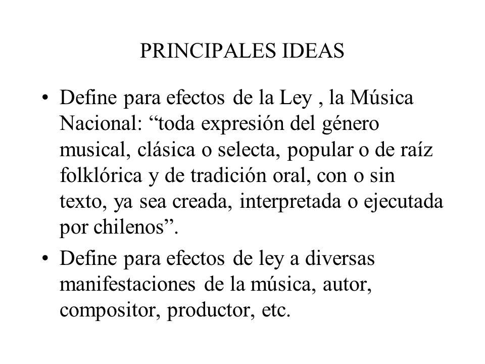 PRINCIPALES IDEAS Consejo es un organismo que tiene asiento administrativo en el Consejo Nacional de Cultura.