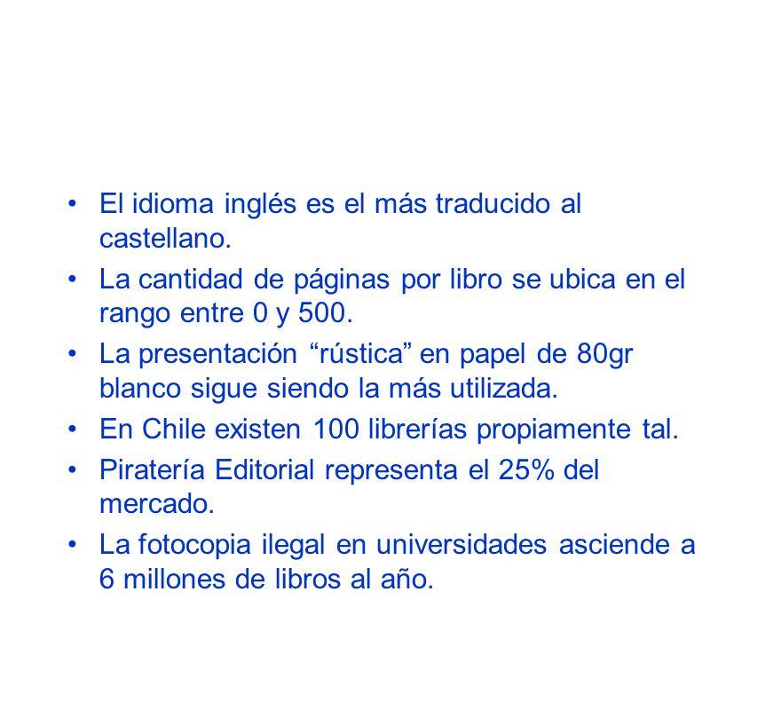 Estadísticas: Agencia Chilena del I.S.B.N. Predominan las primeras ediciones alcanzando el 91,9% de la producción anual. Las áreas de literatura y edu