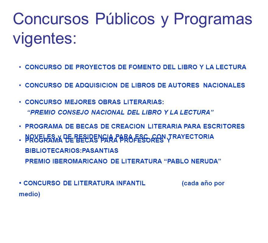 CONCURSO DE PROYECTOS DE FOMENTO DEL LIBRO Y LA LECTURA CONCURSO DE LITERATURA INFANTIL (cada año por medio) CONCURSO DE ADQUISICION DE LIBROS DE AUTORES NACIONALES CONCURSO MEJORES OBRAS LITERARIAS: PREMIO CONSEJO NACIONAL DEL LIBRO Y LA LECTURA PROGRAMA DE BECAS DE CREACION LITERARIA PARA ESCRITORES NOVELES y DE RESIDENCIA PARA ESC.