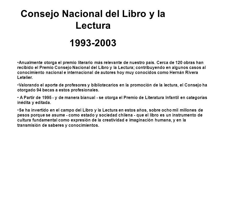 Consejo Nacional del Libro y la Lectura 1993-2003 11 años aportando a la cultura de nuestro país Se han financiado 2.234 proyectos de fomento bibliote