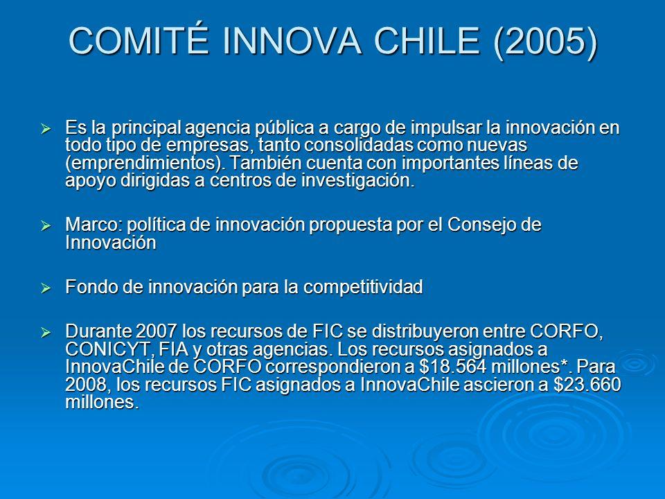 COMITÉ INNOVA CHILE (2005) Es la principal agencia pública a cargo de impulsar la innovación en todo tipo de empresas, tanto consolidadas como nuevas