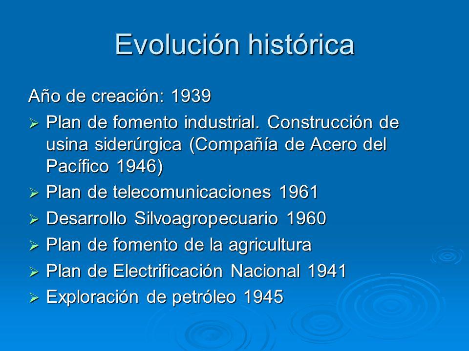 Evolución histórica Año de creación: 1939 Plan de fomento industrial. Construcción de usina siderúrgica (Compañía de Acero del Pacífico 1946) Plan de