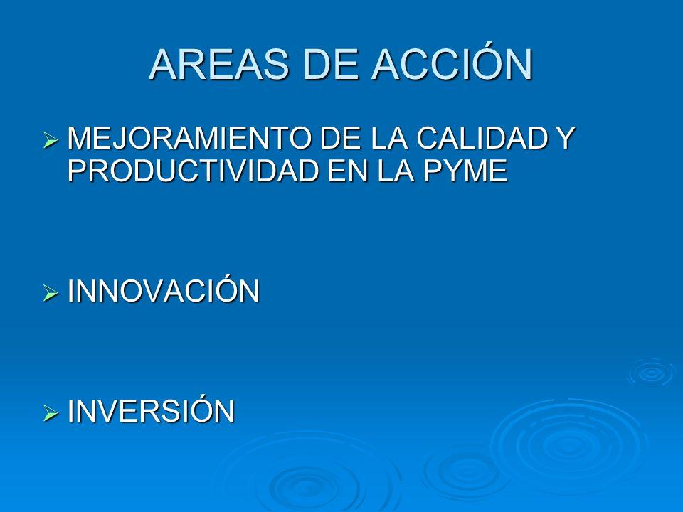 AREAS DE ACCIÓN MEJORAMIENTO DE LA CALIDAD Y PRODUCTIVIDAD EN LA PYME MEJORAMIENTO DE LA CALIDAD Y PRODUCTIVIDAD EN LA PYME INNOVACIÓN INNOVACIÓN INVE