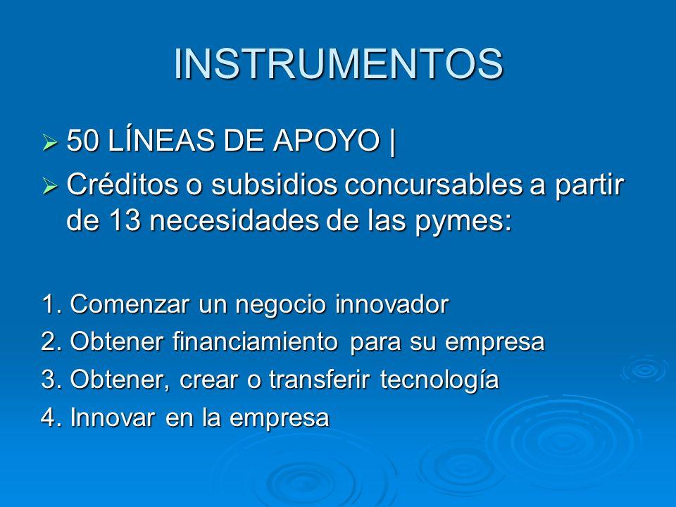 INSTRUMENTOS 50 LÍNEAS DE APOYO | 50 LÍNEAS DE APOYO | Créditos o subsidios concursables a partir de 13 necesidades de las pymes: Créditos o subsidios
