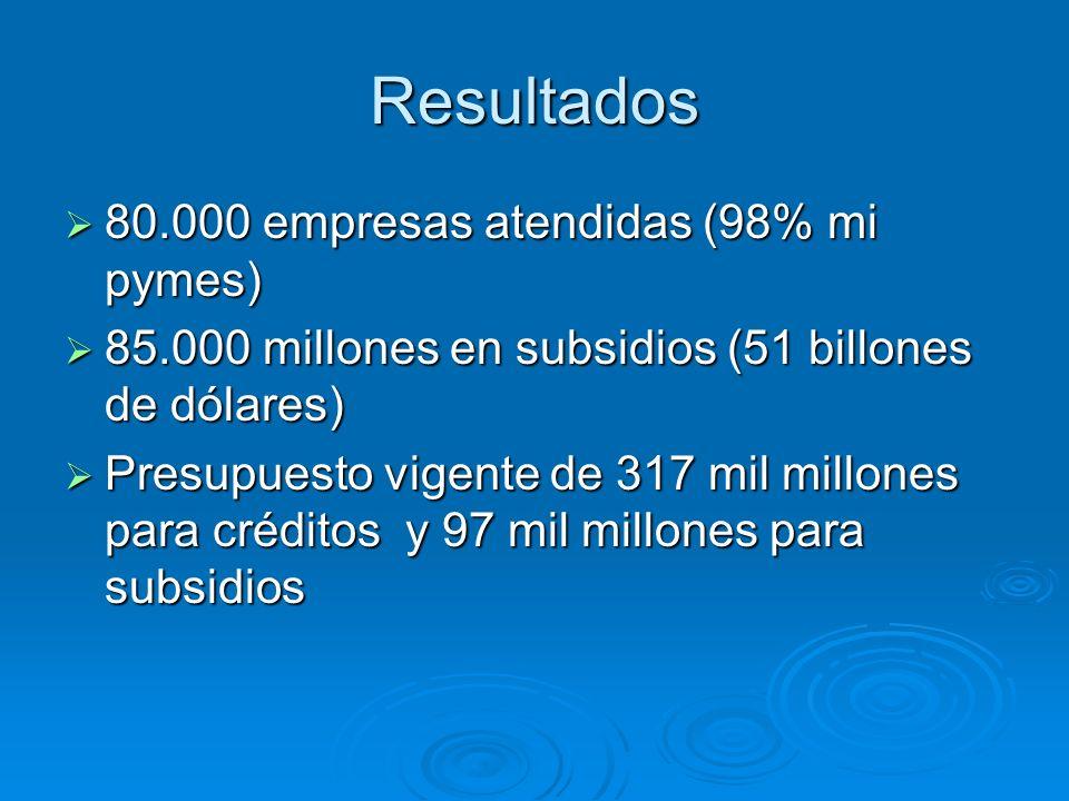 Resultados 80.000 empresas atendidas (98% mi pymes) 80.000 empresas atendidas (98% mi pymes) 85.000 millones en subsidios (51 billones de dólares) 85.
