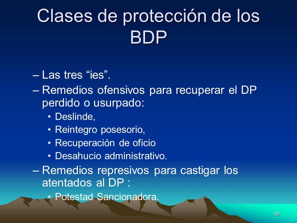 10 Clases de protección de los BDP –Las tres ies. –Remedios ofensivos para recuperar el DP perdido o usurpado: Deslinde, Reintegro posesorio, Recupera