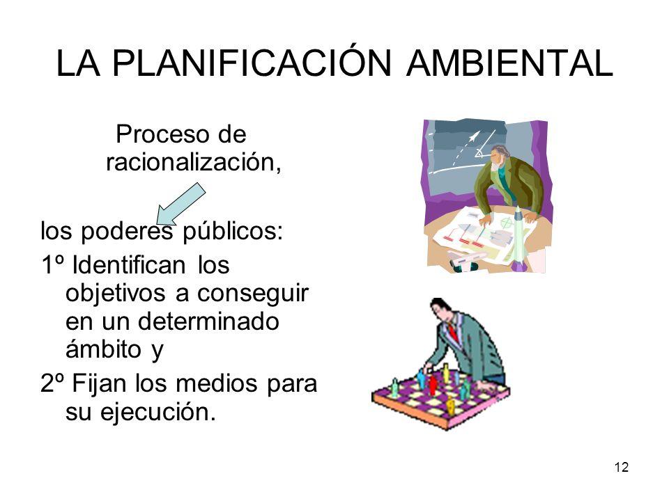 12 LA PLANIFICACIÓN AMBIENTAL Proceso de racionalización, los poderes públicos: 1º Identifican los objetivos a conseguir en un determinado ámbito y 2º