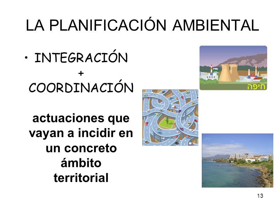 13 LA PLANIFICACIÓN AMBIENTAL INTEGRACIÓN + COORDINACIÓN actuaciones que vayan a incidir en un concreto ámbito territorial