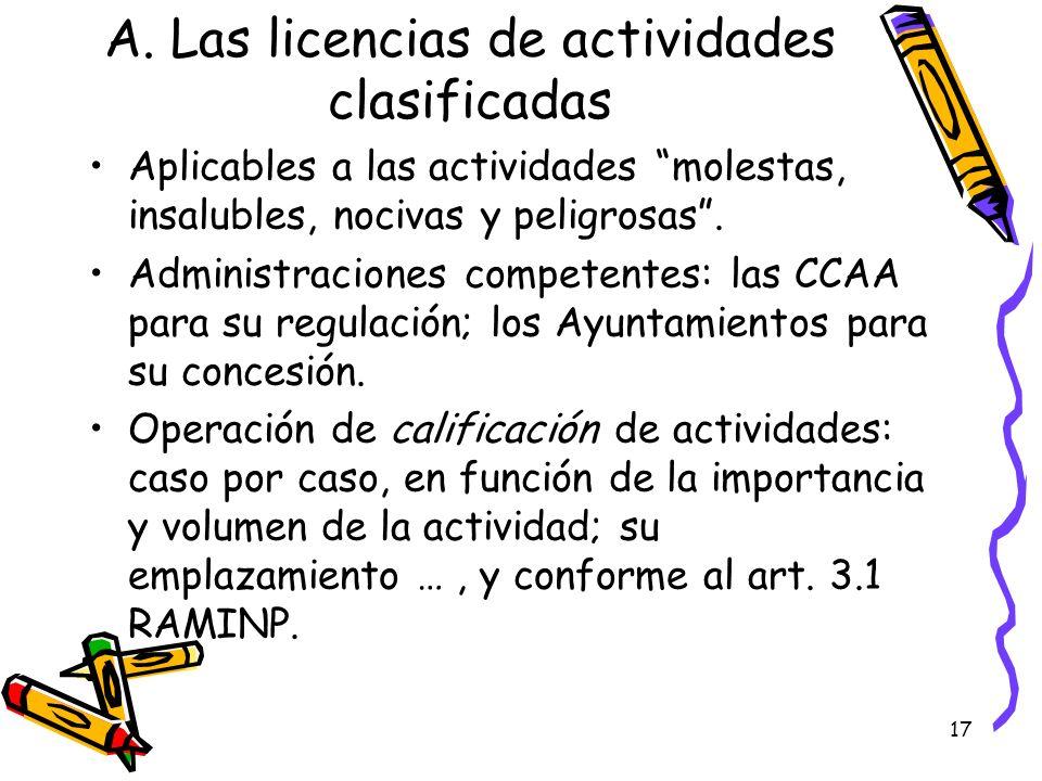 17 A. Las licencias de actividades clasificadas Aplicables a las actividades molestas, insalubles, nocivas y peligrosas. Administraciones competentes: