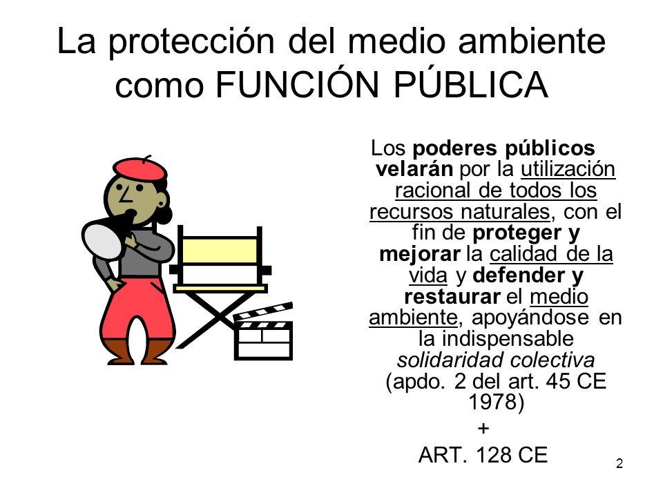 2 La protección del medio ambiente como FUNCIÓN PÚBLICA Los poderes públicos velarán por la utilización racional de todos los recursos naturales, con