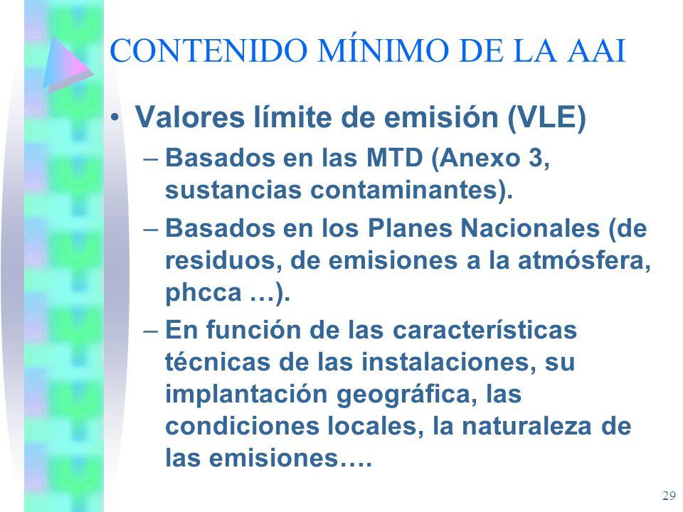 29 CONTENIDO MÍNIMO DE LA AAI Valores límite de emisión (VLE) –Basados en las MTD (Anexo 3, sustancias contaminantes). –Basados en los Planes Nacional