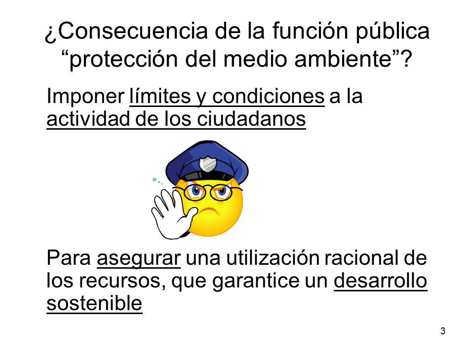 3 ¿Consecuencia de la función pública protección del medio ambiente? Imponer límites y condiciones a la actividad de los ciudadanos Para asegurar una